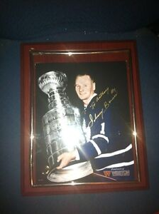 Johnny bower framed auto picture