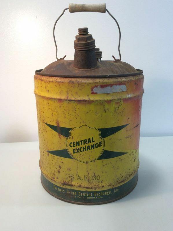 "Vintage ""Farmers Union Central Exchange"" SAE 30 Oil Can 5 Gallon J6"