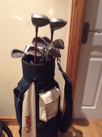 Full set of hippo plus golf clubs and bag