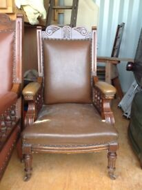 Late Victorian/early Georgian galleried armchair