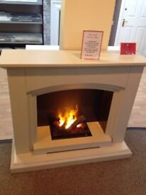 Siena Electric Suite Sandstone Finish With Opti Myst Fire