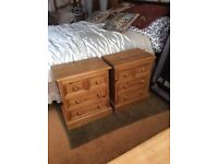 Set of Pine Bedside chest of Drawers