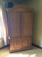 Solid wood hutch for tv and audio