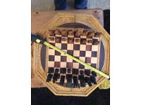 Wooden carved chess set