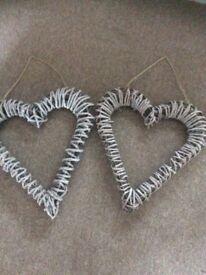Decorative large hearts x 2
