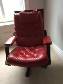 Swivel chair, red leather
