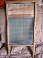 Wood and Glass Washboard - Antique
