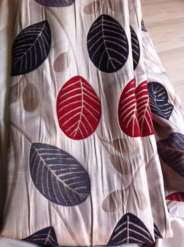 Curtains, 168x228 Each Panel  Lined Red, Grey Leaves Dunelm