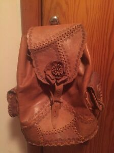 One-of-a-kind leather backpack from Dominican republic
