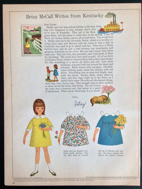 Vintage Betsy McCall Mag. Paper Doll, Betsy McCall Writes from Kentucky,May 1966