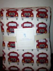 NEW Pottery Barn Kids Boys Fire truck Engines Flannel Sheet Set