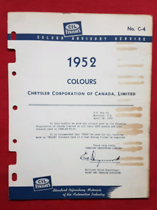 1952 DODGE CHRYSLER PLYMOUTH Paint / Colour Chips CIL