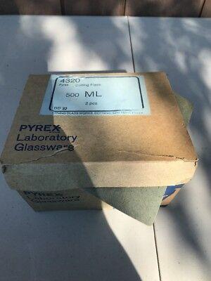 2 Corning Pyrex Glass 500ml Single Neck Round Bottom Boiling Flask 2440 Joint