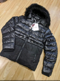 Moncler and Phillip Plein. Winter jacket. Navy and Black.