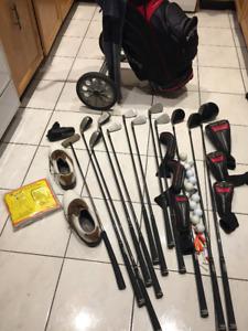 Like New Adam Idea RH Golf Clubs Set w/ Bag, Cart, Shoes, Shoes