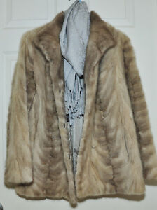 GENUINE MINK FUR COAT JACKET SILVER PEARL VINTAGE