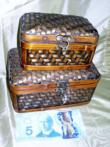 Pair of small wicker/metal storage boxes
