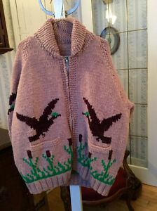 Unique vintage handmade wool Cowichan siwash sweater