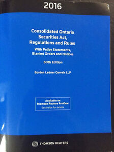2016 Consolidated Ontario Securities Act, Regulations and Rules