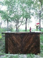 Handcrafted wood bar for your special event!