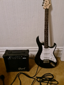 Cort Trailblazer Electric Guitar with Amplifier and cables.