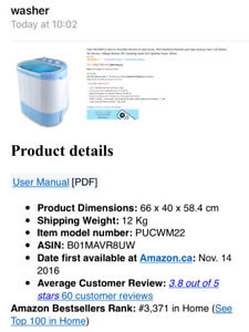Electric mini Portable washer and spin dryer cycle