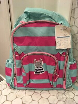 New Pottery Barn Kids Large Fairfax Pink   Aqua Stripes Sailor Kitty Backpack
