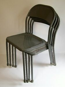 4 Chaises Empilable Vintage - 4 Vintage SINGER Stackable Chairs