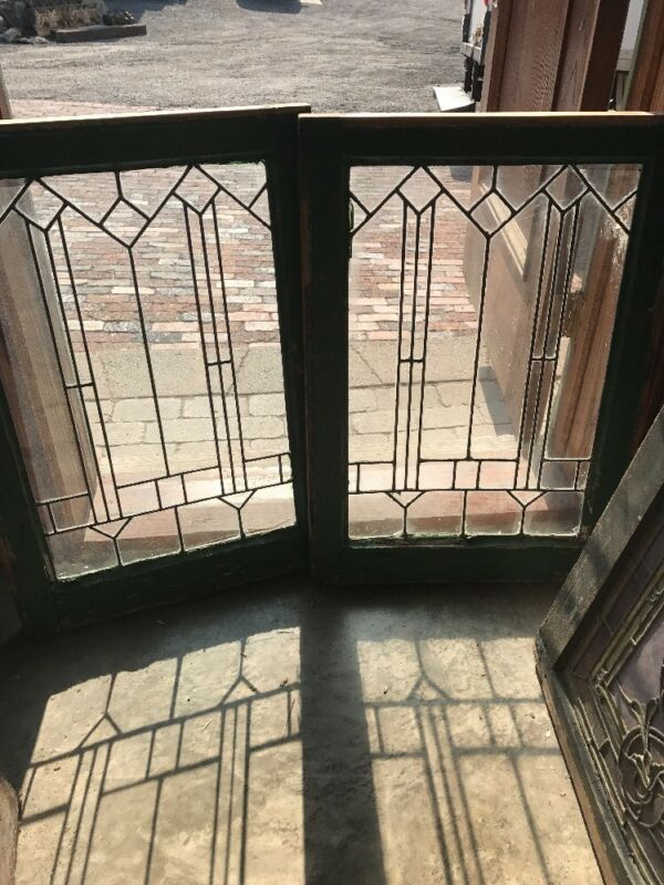 Sg 1540 Matched Pair Antique Leaded Glass Windows 20.25 X 29