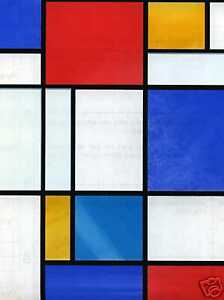 SELF ADHESIVE WINDOW COVERING MONDRIAN RED BLUE STAINED GLASS EFFECT VINYL FILM
