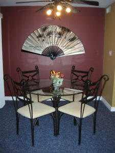 Wrought Iron Glass Dining Table + 4 Dining Chairs