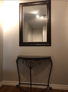 Half Moon Console Marble Table and Mirror