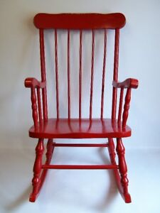 Chaise Berçante - VINTAGE - Red Painted Rocking Chair