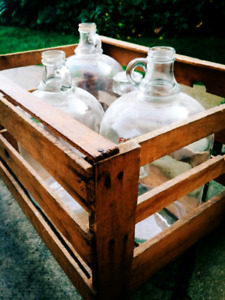 Vintage Country milk crate and jugs