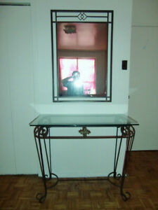 Wrought Iron Console Table with Mirror