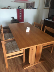 Dining table solid pine 4 matching chairs, also teak furniture