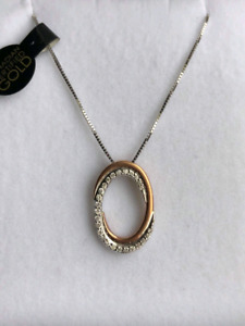 10K White & Rose Gold Necklace with 0.10CT Diamond Accents