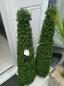 TWO - Green Artificial Tower Boxwood Topiary Tree - Brand new with Tag