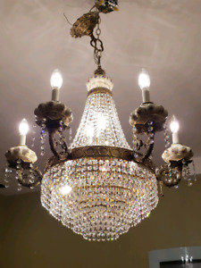 Spanish Chandelier - Brass, Swarovski Crystals, Porcelin