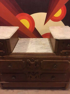 Antique Victorian marble top drop centre dresser