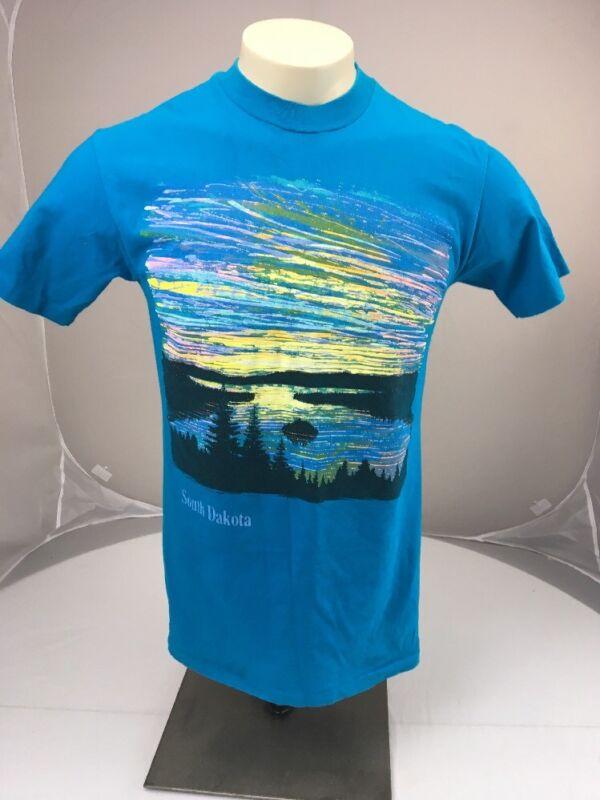 Vtg South Dakota colorful sky scenery travel souvenir tshirt S PUFFY PAINT NEON
