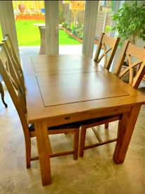 Oak Furniture Land Rustic Solid Oak Dining Table & 4 Cross BackChairs