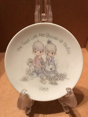"1988 Enesco Precious moments mini plate ""The Good Lord has Blessed Us Tenfold """