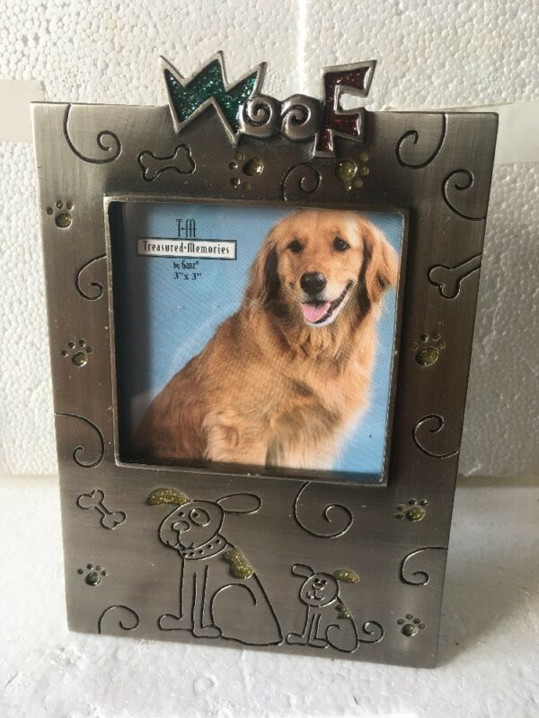 "NEW Ganz Dog ""Woof"" Pewter Picture Frame (3"" X 3"")"