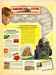 1946 genuine full-page magazine ad for American Flyer Toy Trains