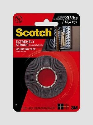 Scotch Mounting Tape Holds 30 Lbs Double Sided Hang Extremely Strong 1w X 60l