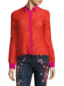 Roberto Cavalli Floral Lace Silk Blouse Pink and Orange