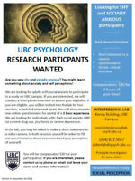 Is SOCIAL ANXIETY a concern for you? Participate in UBC study!