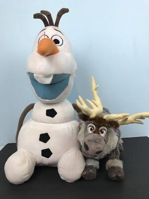 Disney Frozen Olaf And Sven Plush Stuffed Toys Animals Reindeer Moose - Sven And Olaf
