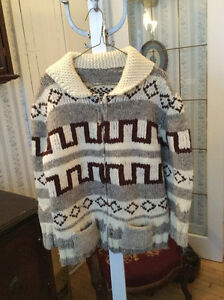 Warm and cozy vintage hand knit wool Cowichan sweater
